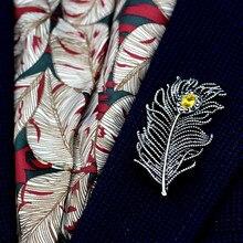 Anslow marca de calidad superior Vintage cristal pluma broche de mujer Pin para abrigo vestido camisa traje joyería para fiesta y boda encantos