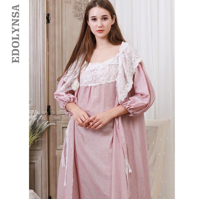 95b4721570 Victorian Robe Gown Set Autumn Women Sleepwear Vintage Peignoir Set Cotton  Bachrobe Long Kimono Lace Nightgown