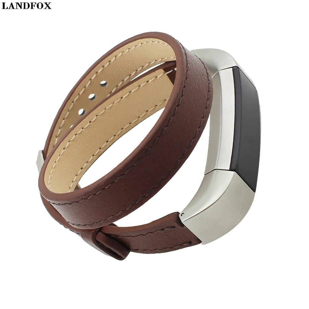 LANDFOX Double Tour Leather Watch Band Strap Bracelet For Fitbit Alta HR Smart Watches Strap WristBand Bracelet New Fashion