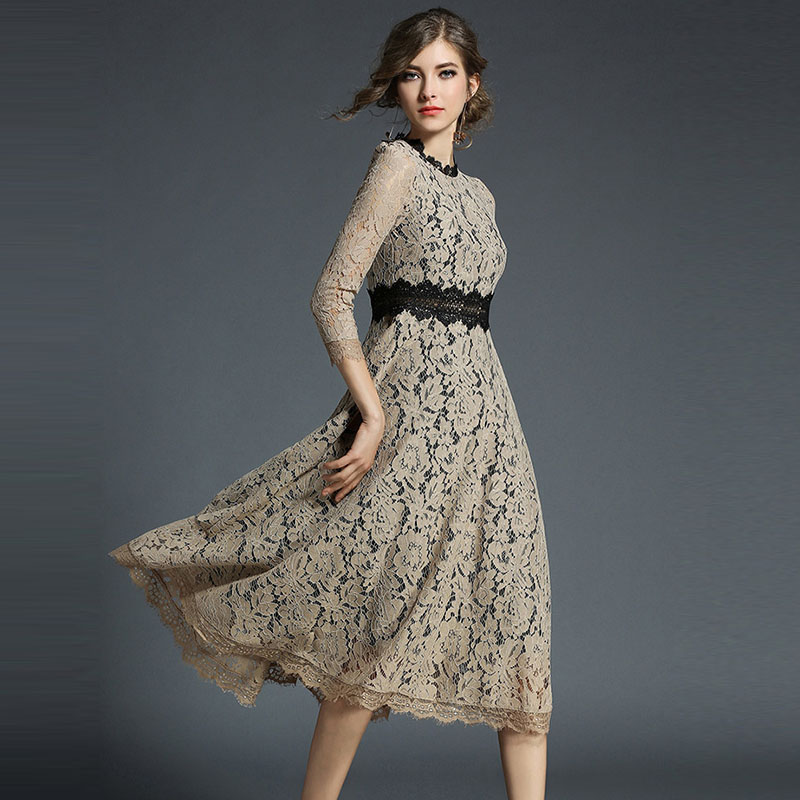 Осень 2017 г. высококачественные женские элегантные пикантные длинное платье модные женские платья трапециевидной формы OL офисный стиль пар...