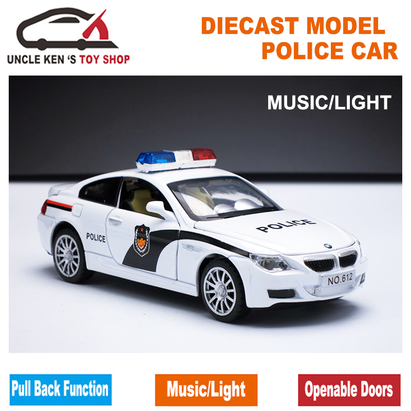 1/32 Scale Police Toy Model Car, Metal Car, Diecast Models, Boy Gift Toy With Openable Doors/Pull Back Function/Music