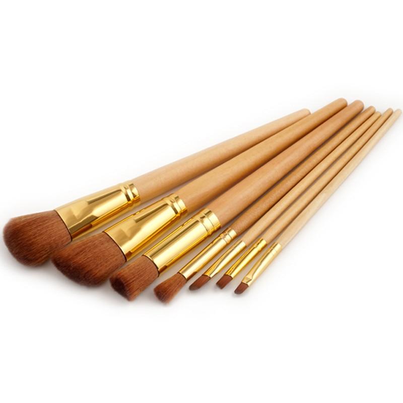 7Pcs Wooden Handle Gold Makeup Brush Large Mini Contour Concealer Brush Flat Oblique Powder Eyebrow Eyeshadow Brushes Make Up