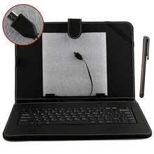 "Caja Libre del Cuero Del USB Del Teclado Ruso de 7 ""8"" 9 ""9.7"" 10.1 ""Tablet PC + estilo pluma capacitiva + Dos cables OTG"