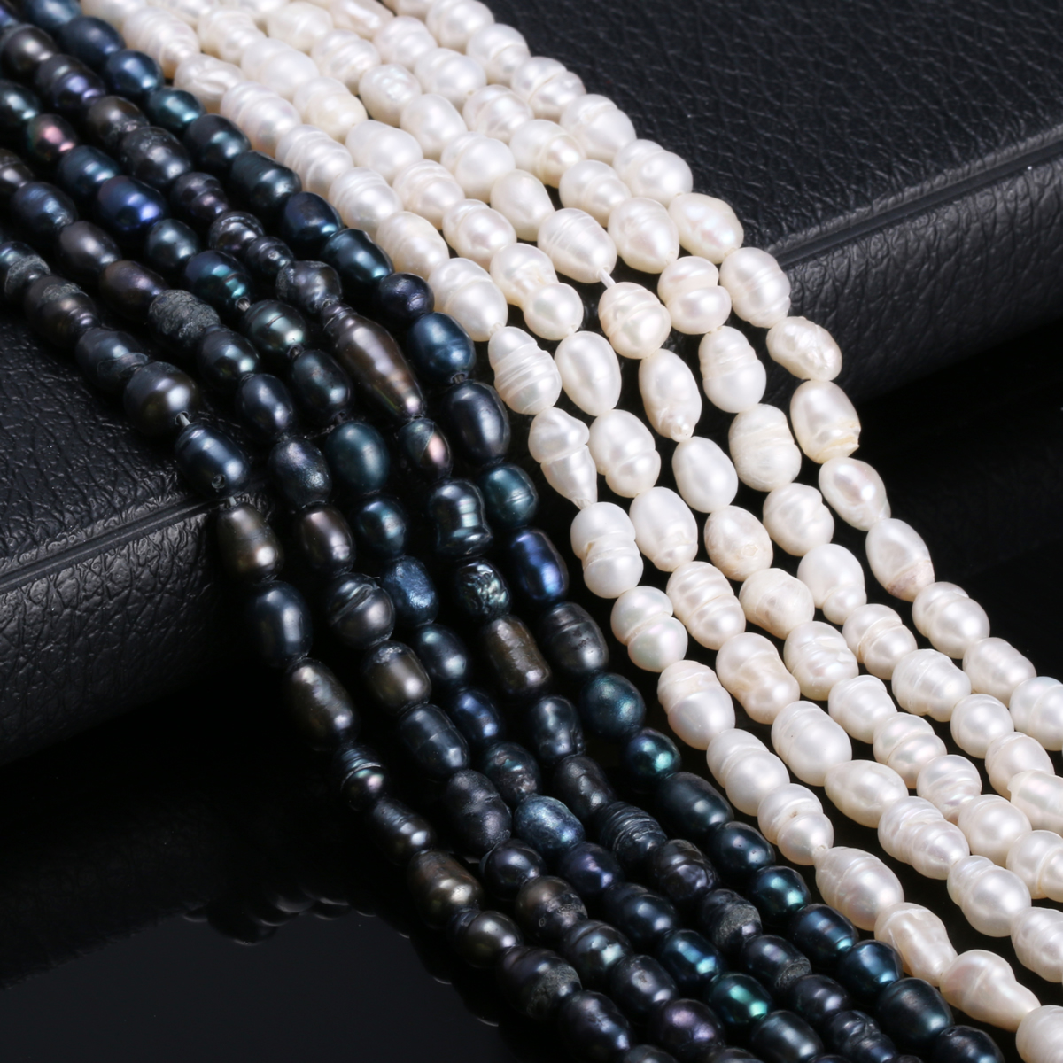 Natural Freshwater Cultured Pearls Beads Rice Shape 100% Natural Pearls For Jewelry Making DIY Strand 13 Inches Size 5-6mm