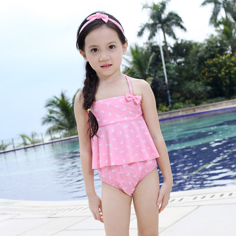 52da21a9a90 2019 Promotion Dot Polyester New Swimsuit Children Swimsuits Cute Girls  Bikini Bathing Suit