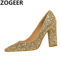Fashion Sexy Women Pumps Princess Spring Women's Shoe Luxury Sequined High Heels Pointed Toe Wedding Shoes gold silver red black