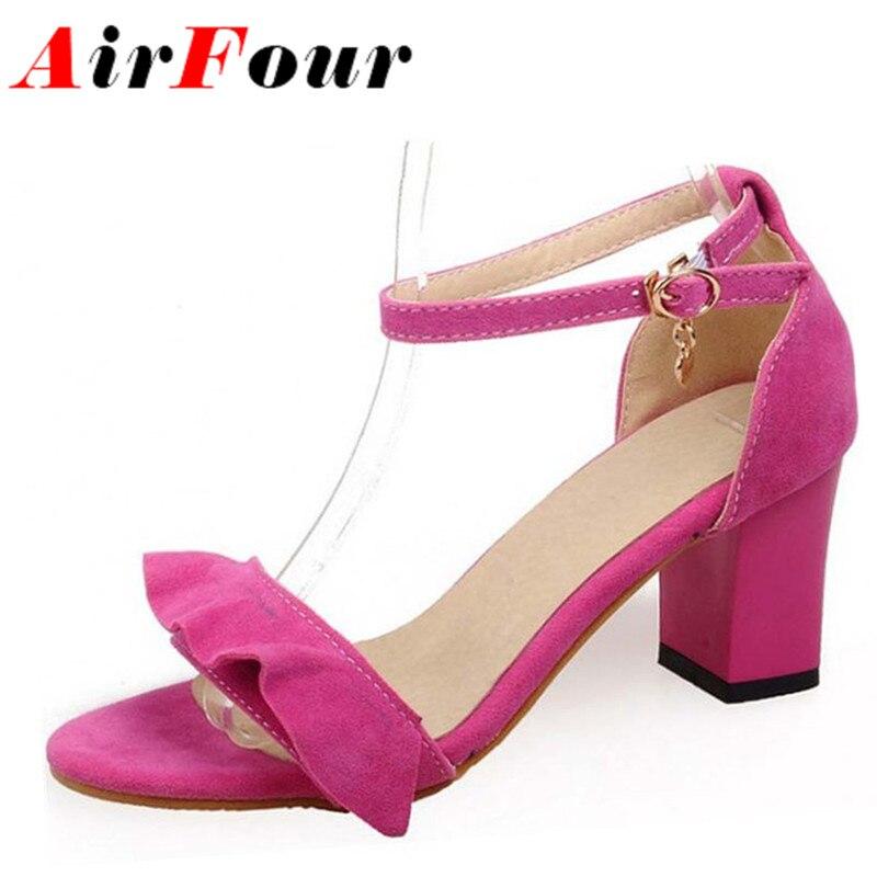 ФОТО Airfour Sweet Ruffles Ankle Straps High Heels Dress Sandals Open Toe Summer Ladies Shoes Women Big Size Black Pink Purple Blue