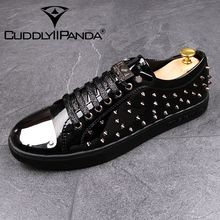 CUDDLYIIPANDA males punk fashion males style loafers breathable males informal sneakers Rivet Top Quality Comfortable sneakers