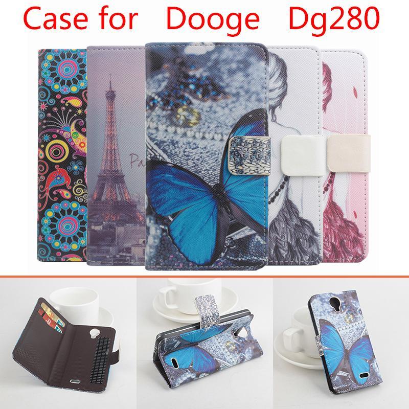 ⃝De alta calidad patrón Flip Funda de cuero para Doogee DG280 con ...