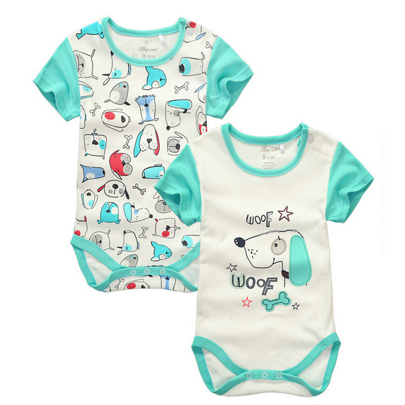 2pieces/lot Baby Boys Girls short sleeve Rompers 2017 Newborn Baby's Clothes Kids Costume Jumpsuit&Rompers KF151 summer style short sleeve baby gentleman tie rompers love mama papa jumpsuit baby boys girls costume jeans newborn baby clothes
