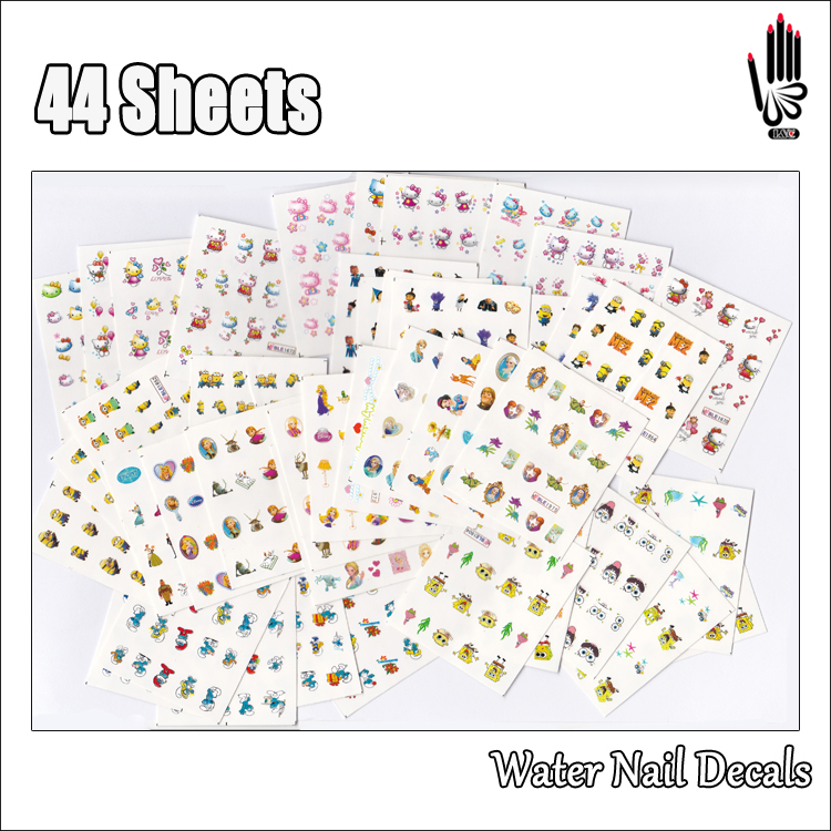 Nail Art 44Sheets/Lot Mixed Despicable Me Ice Princess Hello Kitty Cartoon Water Transfer Nail Art Sticker Decoration 44 Designs nail art large piece yb529 540 12 designs in 1 cartoon pet hello kitty nail art water transfer sticker decal for nail