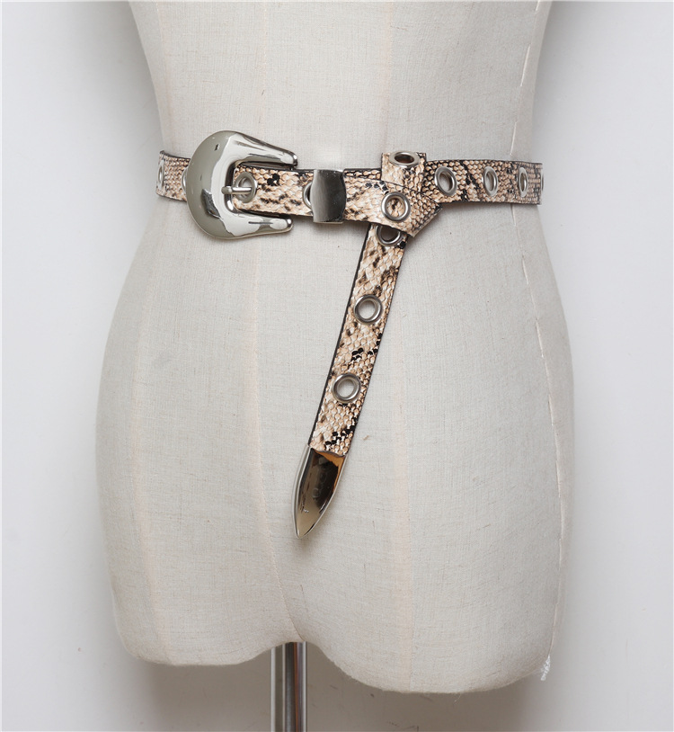 Cuero de la PU con estampado de serpiente de moda las mujeres cinturones de mujer cinturones de moda blanco negro Correa B10