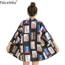 NiceMix Harajuku Kimonos 2019 Summer Yukata Women Tops Cosplay Print Japanese Style Shirts Cardigan Loose Thin Blouses New