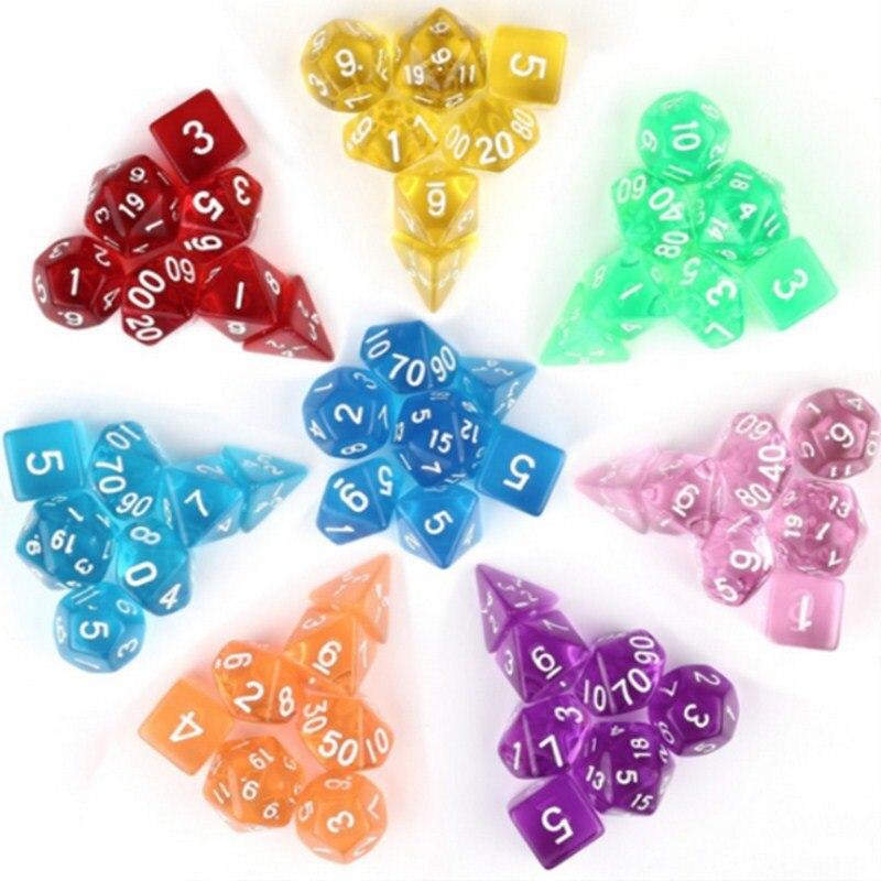 7pcs/set Transparent Polyhedral Dice D4 D6 D8 D10 D12 D20 For Board Game Entertainment Dice