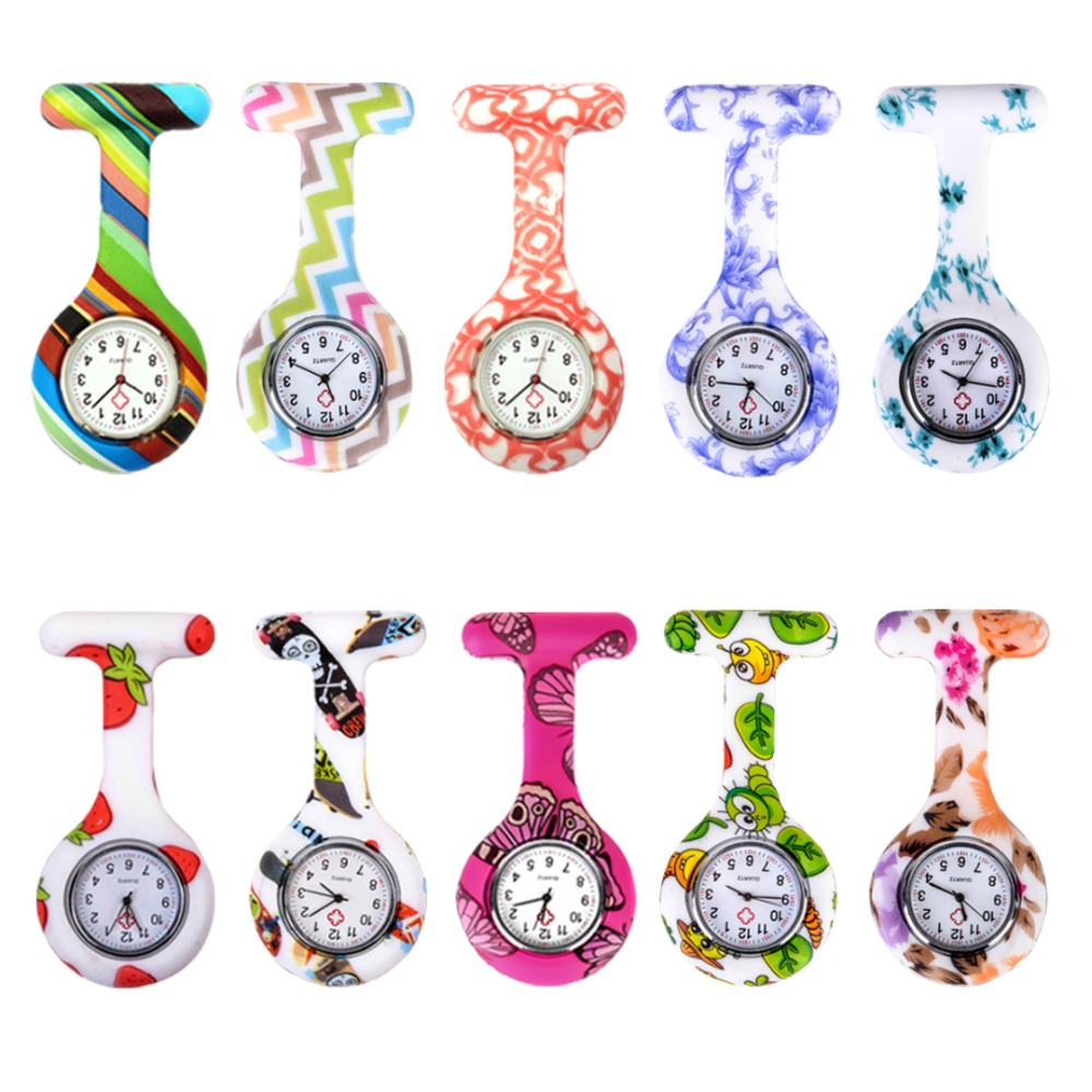 Shellhard Fashion Prints Colorful Nurse Watches Doctor Portable Fob Pocket Watch Brooches Silicone Quartz Medical Round Watch