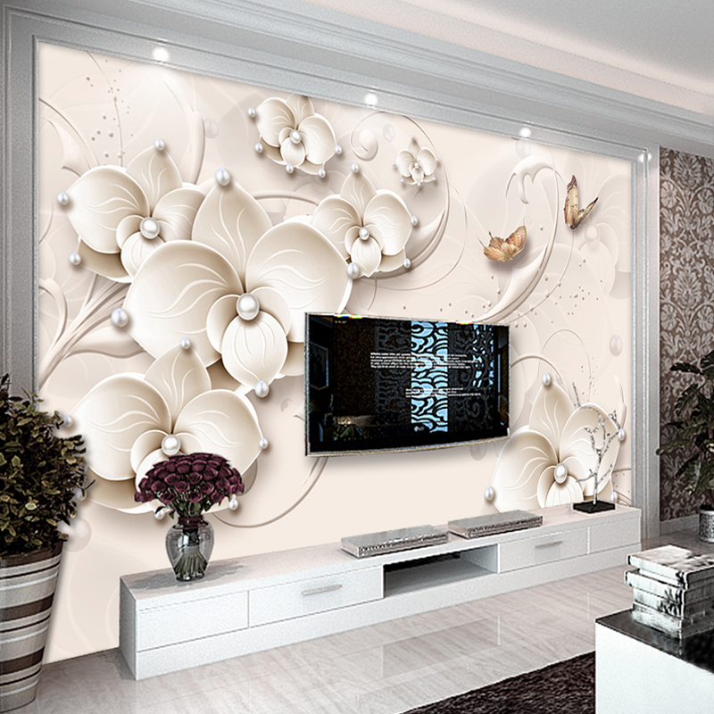 Custom Wallpaper Murals 3D Relief Wall Painting Modern Butterfly Flower Jewelry Living Room TV Background Wall Papers Home Decor large painting home decor relief green flowers hotel background modern mural for living room murales de pared 3d wallpaper