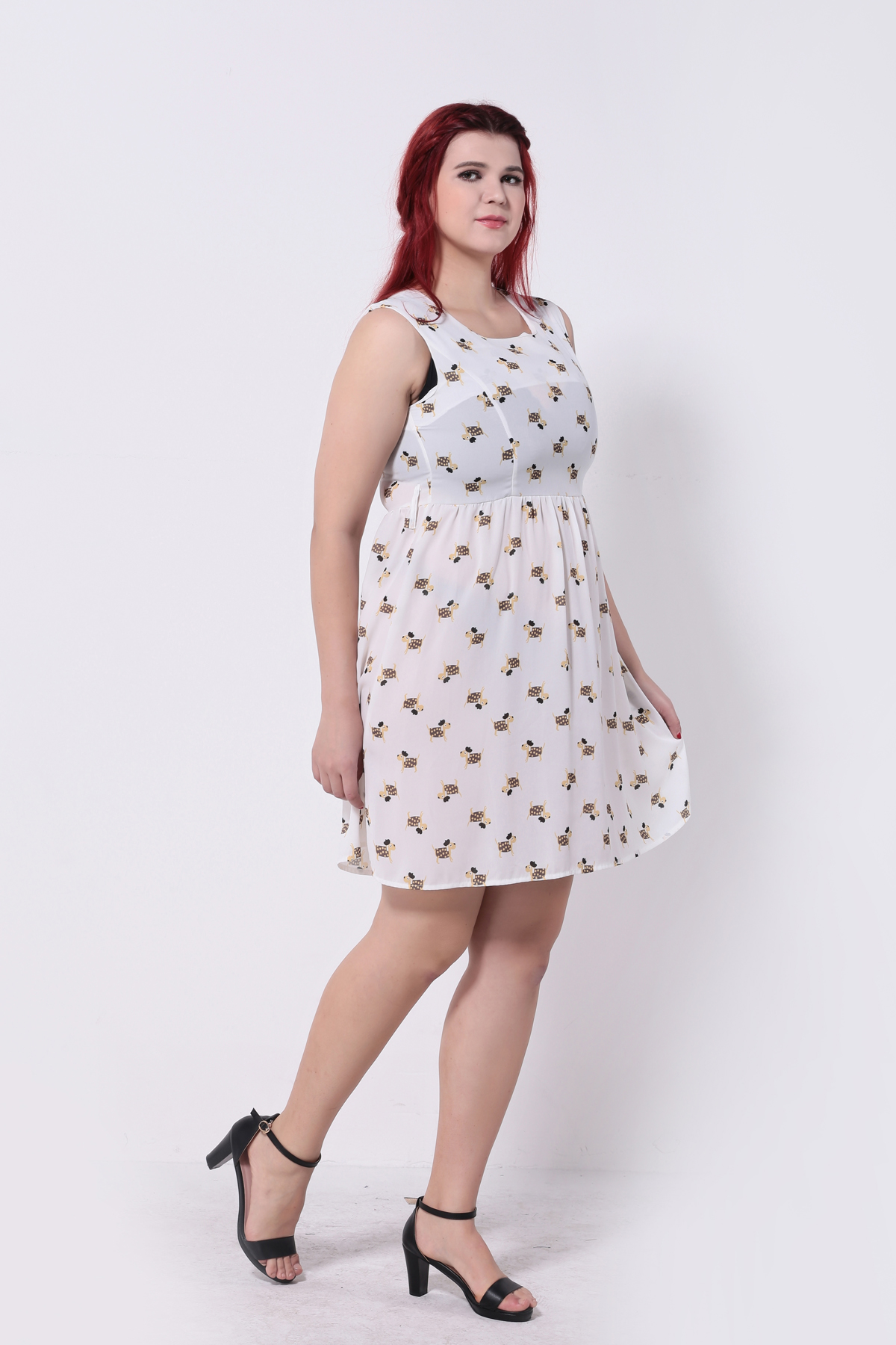 c2ac106e0fc4 Brand Summer Sleeveless Women Dress Cute Sausage Dog Print Chiffon Skater  Dresses Plus Size 5XL 6XL Free Belt High Quality-in Dresses from Women s  Clothing ...