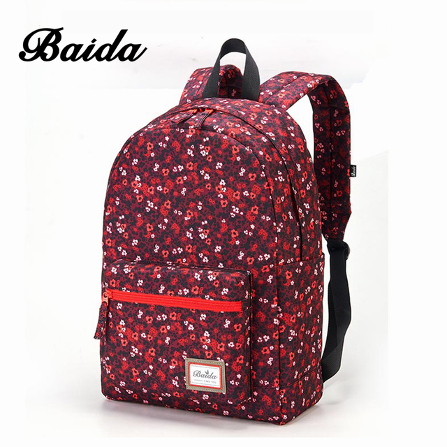 19c08963c8 BAIDA Brand Fashion Red Floral Print Backpack Flower Pattern Women Daypack  Teenage School Bags for Youth