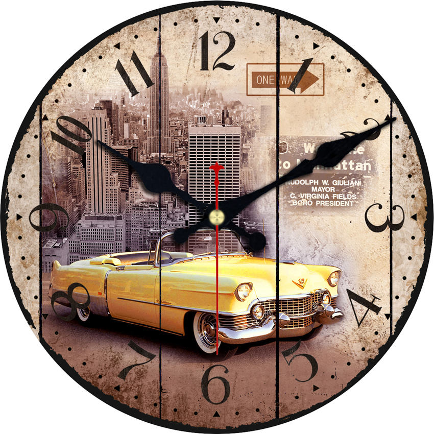 Chic Car Wall Clocks,Vintage Wall Clock,Silent Wall Art Large Wall Clock, Wall Watch For Home Decor Study, No Ticking Sound