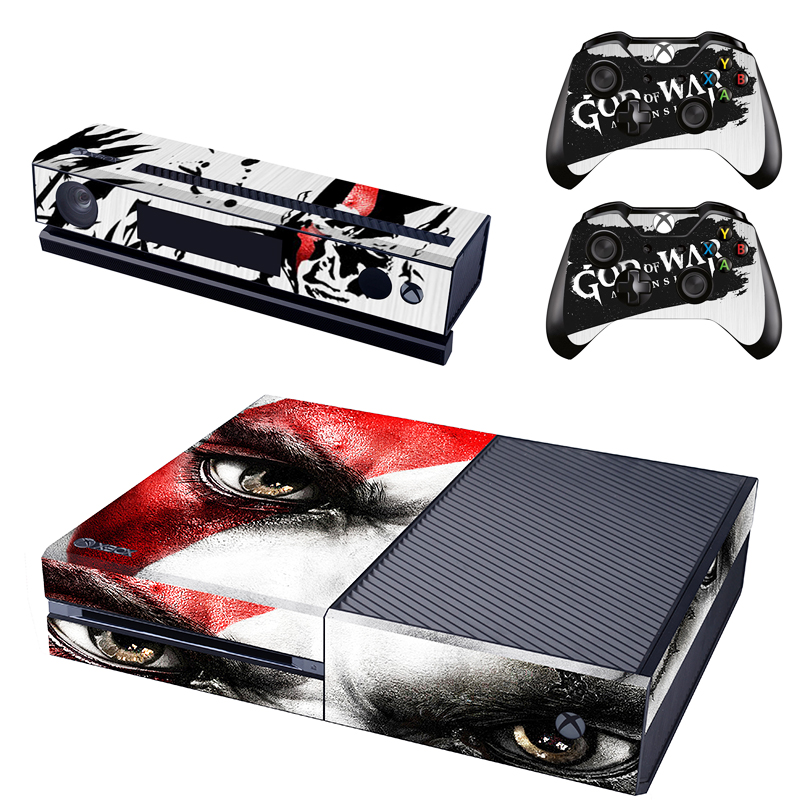 God of War Kratos Skin Sticker Decal For Microsoft Xbox One Console and Kinect and 2 Controllers Stickers Accessory