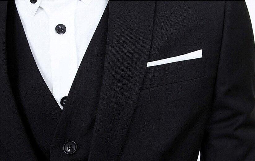 Rand moda masculina três peças conjunto de negócios casual fino ajuste ternos preto cinza azul real do noivo ternos de casamento para homem smoking - 4