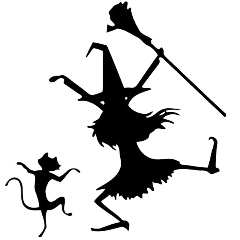 14.2cm*15cm Dance Witch And Cat Funny Vinyl Car-styling Car Sticker Decals Black/Silver Accessories S6-3944