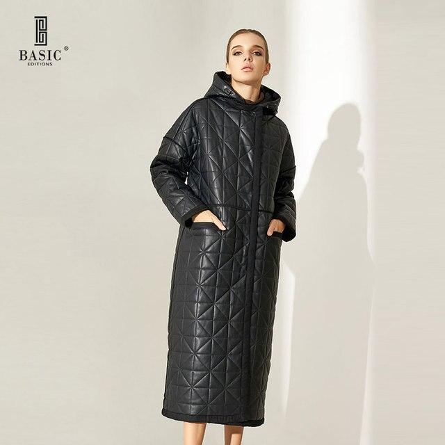 Basic Editions Для женщин зимние Искусственная кожа съемный капюшон широкий плечевой длинная парка пальто куртка из кожзаменителя-ZM701085