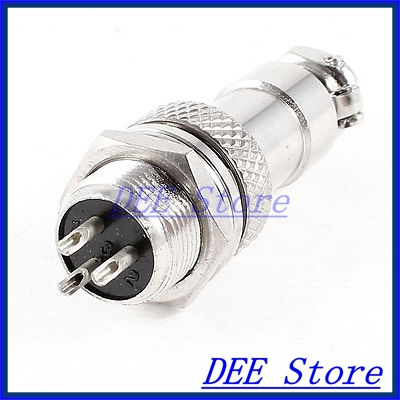 GX12-3 3Pin Male 12mm Screw Type Cable Connector Aviation Plug AC 250V 5A