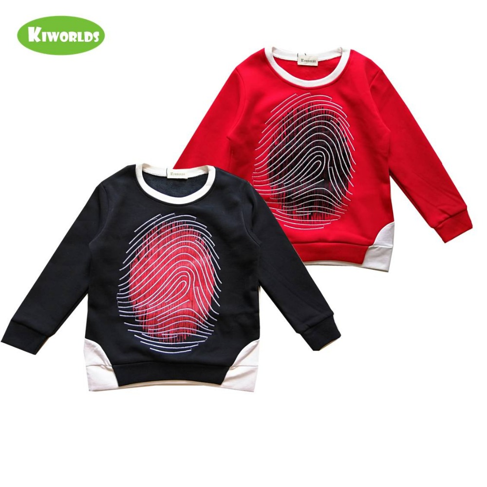 Boys T-Shirt Long-Sleeve Velvet Finger-Print Kids Winter Cotton High-Quality with Double-Deck