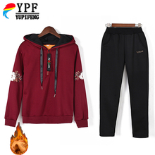 Autumn and winter 2 Piece Sets Women Sporting Suit Casual Loose Female Streetwear Tracksuit Gold Velvet
