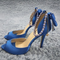 Women Stiletto High Heel Sandals Sexy Peep Toe Ankle Strap Pearl Chain Bowing Blue Satin Wedding Bridals Lady Shoes 0640C k8