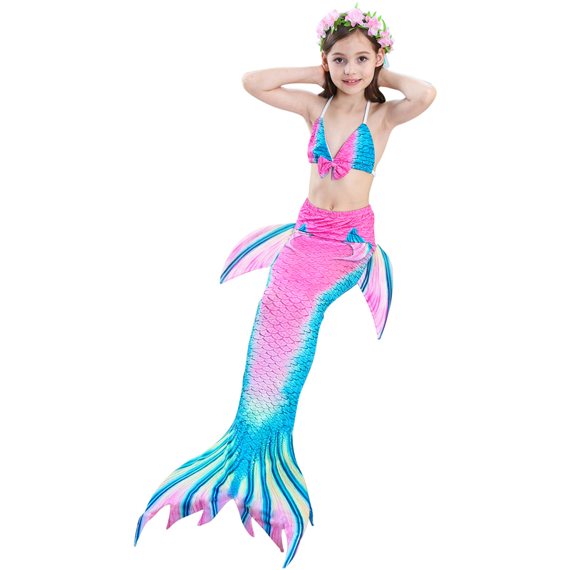 Girl's Ariel Mermaid Tails Princess Swimming Costumes Cosplay with Monofin Kid Zeemeerminstaart Cola De Sirena Cauda De Sereia