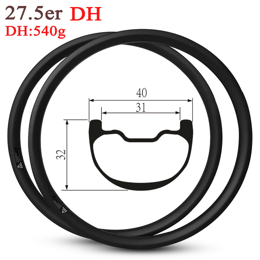 27 5er MTB Enduro and DH Carbon Rim Hookless Tubeless Ready Rims 40mm Width For Mountain