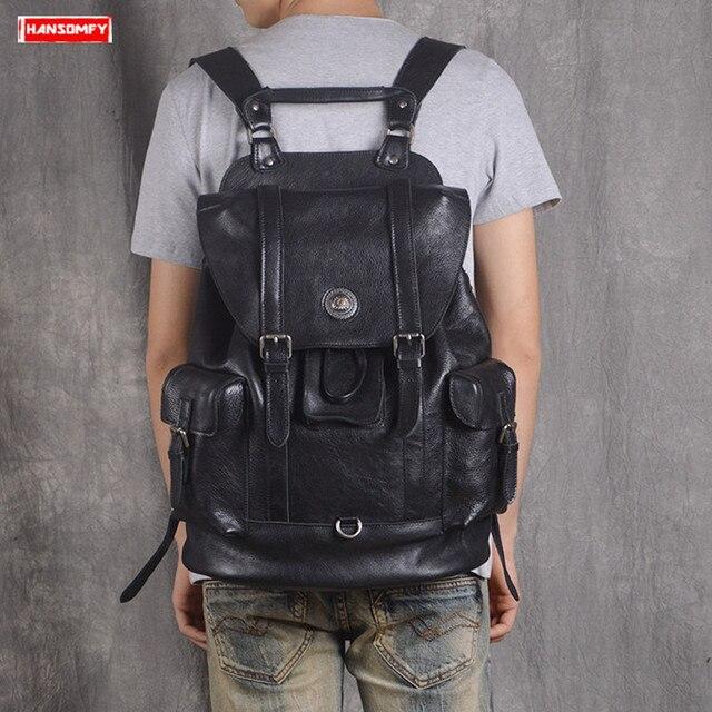 Pierwsza warstwa skóry męski plecak Retro pojemna na laptop torba męskie plecaki turystyczne skóra bydlęca nowe modne torby szkolne