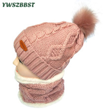 New Plush Knitted Women Winter Hats Crochet Neck Scarf Collar Artificial Fur Pom Pom Ball Hat for Winter Girl Women Beanies Cap