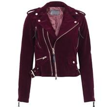 Brand Velvet zipper Button jacket coat women 2017 Autumn red black Long Sleeve Female bomber basic