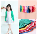 New 2015 spring autumn Girls Boys Long Sleeve button V-neck Shirt jackets kids Candy Color Sweater Cardigan
