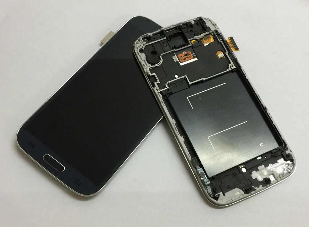 لسامسونج غالاكسي S4 gt-i9500 i9505 i337 محول الأرقام بشاشة تعمل بلمس الزجاج الاستشعار شاشة الكريستال السائل لوحة رصد الجمعية + الإطار