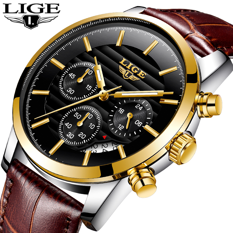 Relogio Masculino LIGE Fashion Watch Men Sport Military Clock Mens Watches Top Brand Luxury Quartz Waterproof Leather Gold Watch new fashion mens watches gold full steel male wristwatches sport waterproof quartz watch men military hour man relogio masculino