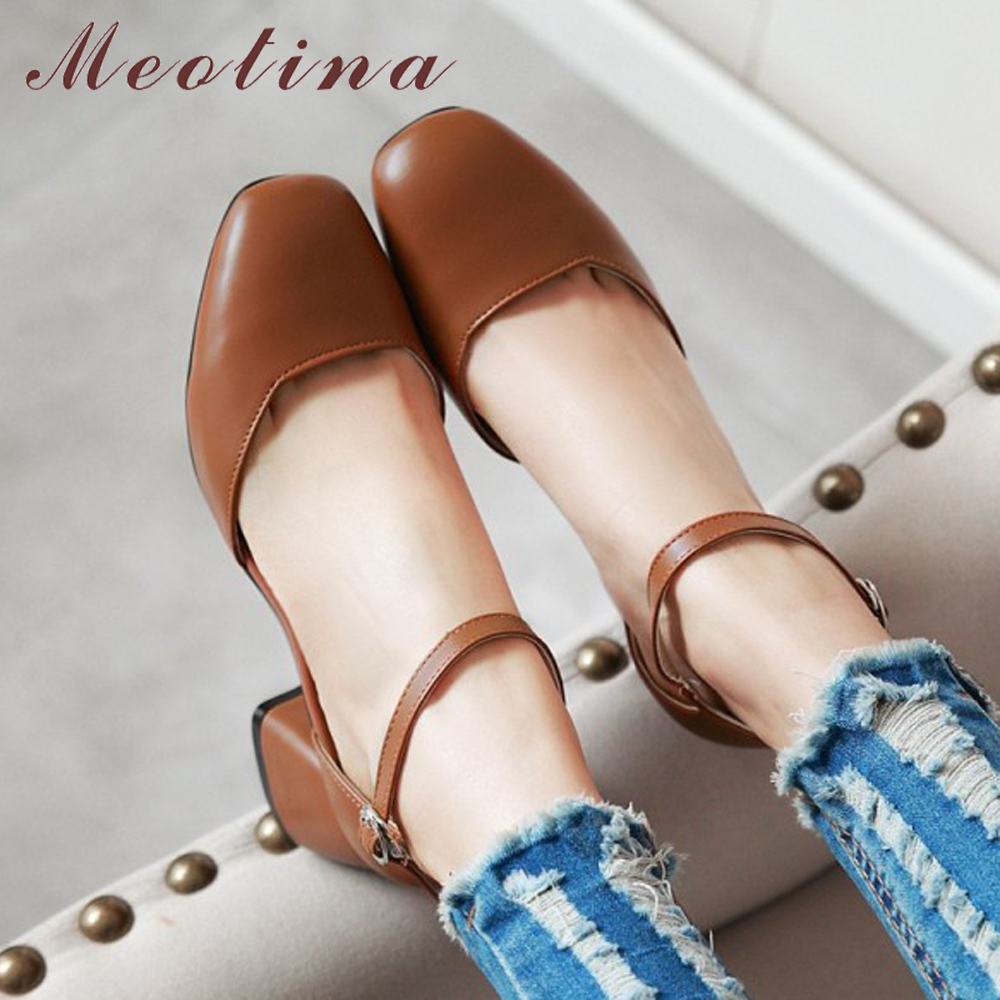 Meotina Women Shoes Work-Pumps Ankle-Strap Mid-Heels Square Toe Comfortable Dress Size-34-43
