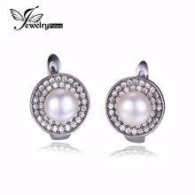 Jewelrypalace 100%  Natural Freshwater Pearl Earrings Clip classic 925 Sterling Silver Earrings  Fine Jewelry for Fashion Women