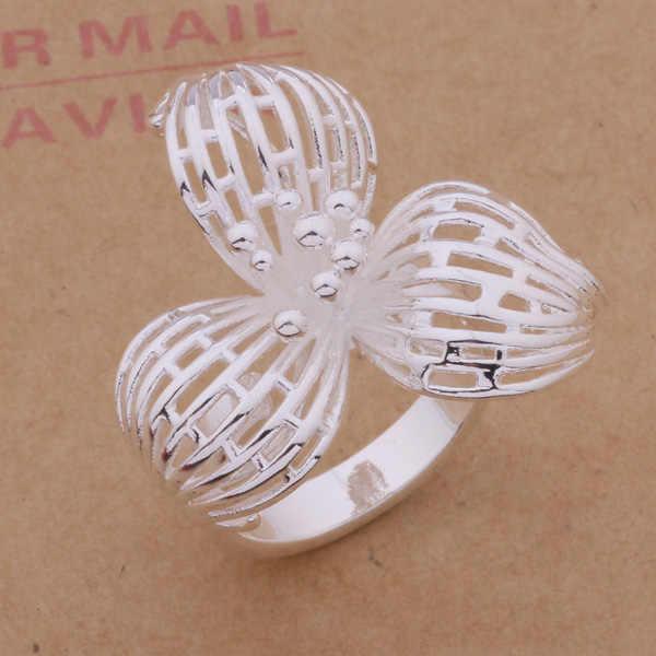 עיצוב מוגזם תכשיטי אופנה טבעת אצבע פרחים גדולים כסף די חמודה מפלגה סגנון לנשים איכות טובה במחיר נמוך