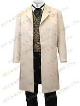 Free Shipping Handsome Khaki Lapel Full Length Buttons Jazz Cloth Mens Steampunk Coat