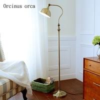 American antique iron floor lamp living room sofa bedroom bed head modern simple reading vertical floor lamp free shipping