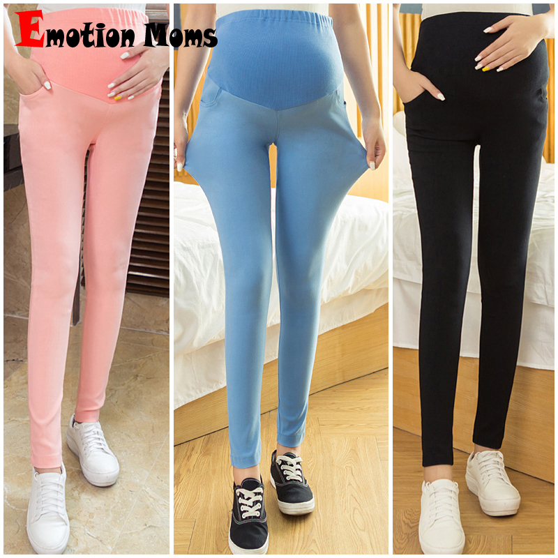 Emotion Moms Maternity Pants Capris Full Length High Maternity Clothes pregnancy Pants For Pregnant Women Maternity trousers materniity pants women pregnancy loose cotton pants capris maternity clothes casual pants black high waist wide leg pants spring