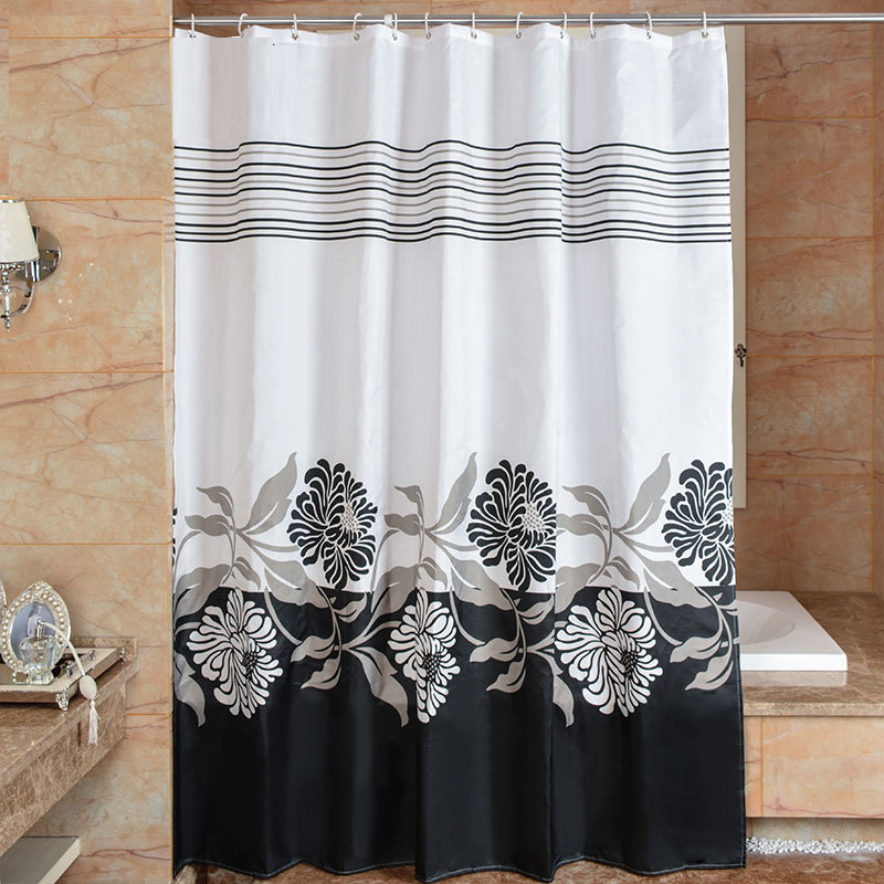 Floral Shower Curtain 3D Black White Fabric Curtains Waterproof 180x180 Cm Polyester Bathroom Cortina De Bano