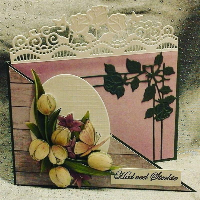 Eastshape Flower Leaves Corner Dies Scrapbooking Butterfly Rose Metal Cutting Craft for Card Making Border New 2019