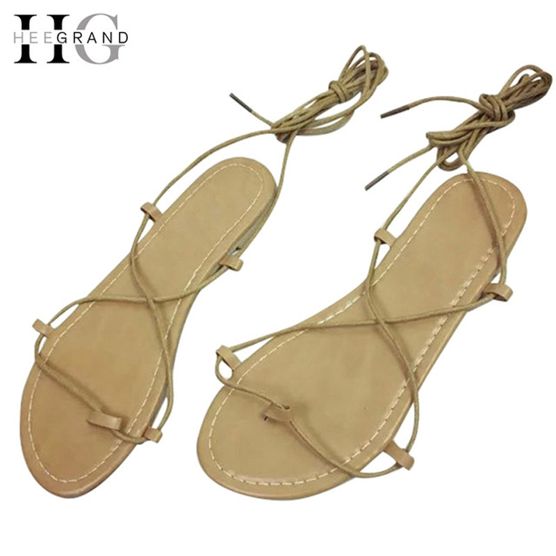 HEE GRAND Lace-Up Flip Flops Summer Gladiator Sandals 2016 Casual Shoes Woman Solid Slip On Flats Fashion Women Shoes XWZ2628 hee grand 2017 creepers summer platform gladiator sandals casual shoes woman slip on flats fashion silver women shoes xwz4074