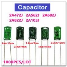 1000 ชิ้นฟิล์มโพลีเอสเตอร์ 100 โวลต์ 2A472J 2A562J 2A682J 2A822J 2A103J 5% 4.7NF 5.6NF 6.8NF 8.2NF 10NF NPO แรงดันไฟฟ้าสูงโลหะ capacitor