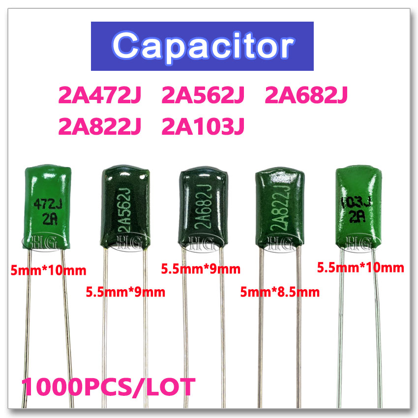 1000PCS Polyester Film 100V 2A472J 2A562J 2A682J 2A822J 2A103J 5% 4.7NF 5.6NF 6.8NF 8.2NF 10NF NPO High Voltage Metal Capacitor